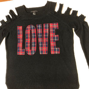 """Forever 21 Black """"LOVE""""  Knit Sweater Size S New"""